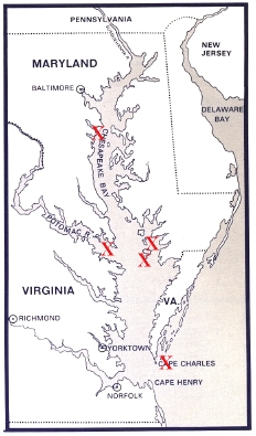 "Red ""Xs"" on the map show locations of pirate bases on the Bay. -- Maryland with Pride Web Site"